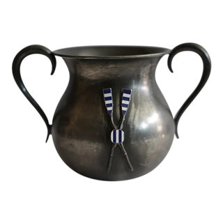 Turn of the Century Silver Plated and Enamel Rowing Trophy/Vase c. 1900