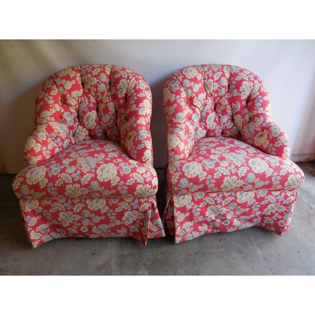 1950s Floral Accent Chairs - A Pair - Image 3 of 6