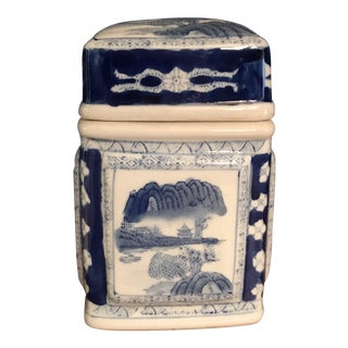 Vintage Asian Blue and White Ceramic Canister Jar For Sale