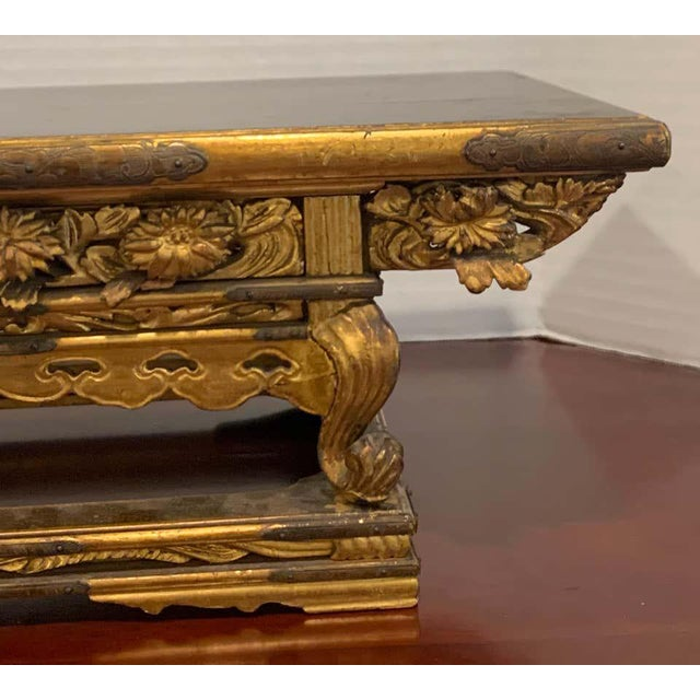 Asian Exquisite Meiji Period Gilt Lacquered and Brass Mounted Stand For Sale - Image 3 of 12