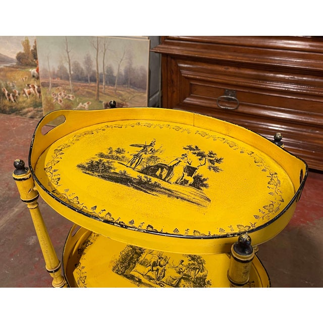 Mid-Century French Hand Painted Three-Tier Tole Side Table For Sale - Image 4 of 9