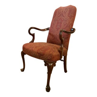 Mahogany Gooseneck Armchair For Sale