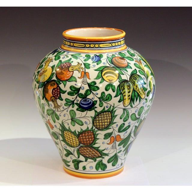 Cantagalli Vintage Cantagalli Italian Majolica Pottery Vase For Sale - Image 4 of 10