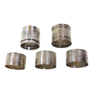 Late 19th Century Antique Victorian Sterling Silver Napkin Rings - Set of 5 For Sale