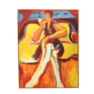 Mid-Century Modern Abstract Eames Era Portrait of a Woman Painting For Sale