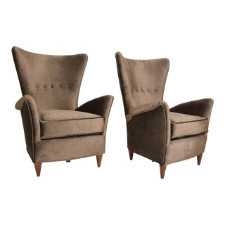 Mid Century Modern Pair of Arm Chairs by Gio Ponti for Bristol Hotel in Merano Italy For Sale