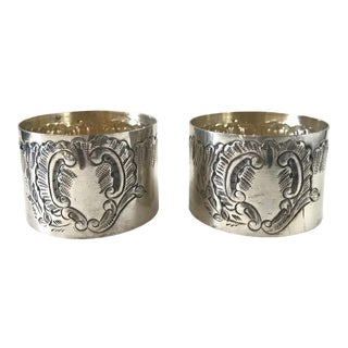 Antique 19th-Century French Louis XVI Rococo Napkin Rings - a Pair For Sale