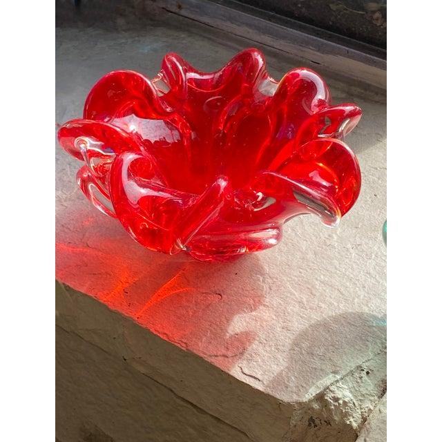 Murano Mid Century Red Murano Dish For Sale - Image 4 of 6