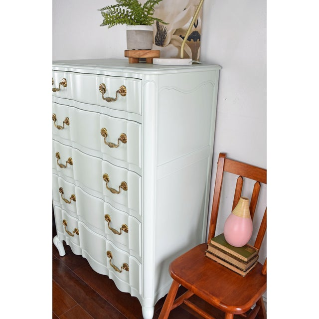 Serpentine French Provincial Green Mint Highboy Dresser For Sale - Image 4 of 9