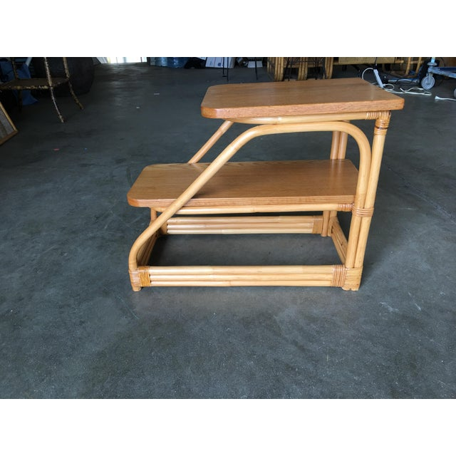 Brown Restored Rattan Side Table With Two-Tier Mahogany Tops - a Pair For Sale - Image 8 of 9