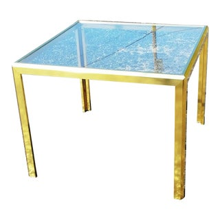 Brass Square Tinted Glass Side End Table in the Manner of Romeo Rega For Sale