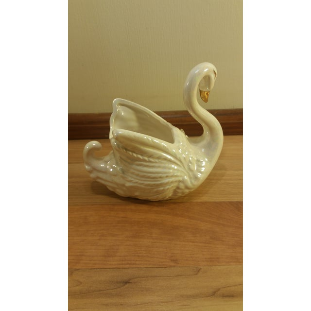 Norcrest Iridescent Porcelain Swan Planter - Image 4 of 4