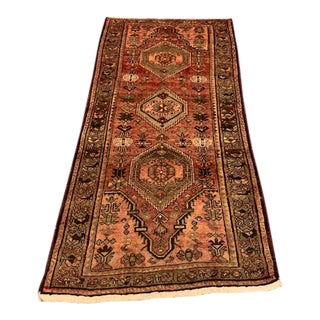 Vintage Hamadan Orange Wool Rug For Sale