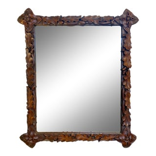 19th C. Black Forest Carved Mirror For Sale