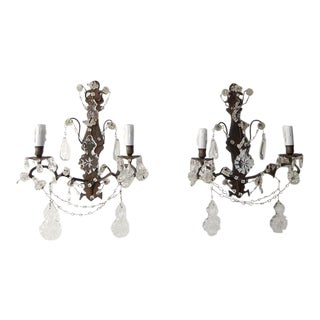 Bronze Crystal Swags and Stars Prisms French Sconces, circa 1900 For Sale