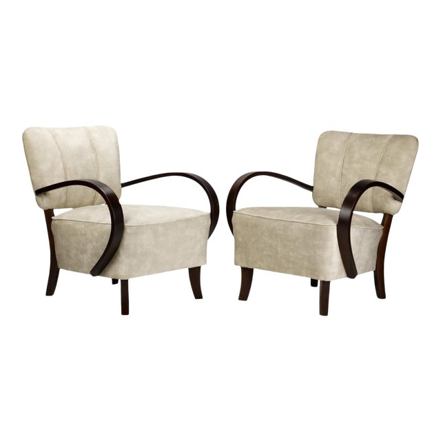 1930s Model H 237 Art Deco Armchairs by Jindrich Halabala- A Pair For Sale