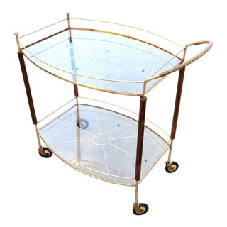 Mid-Century Brass & Glass Bar Cart For Sale