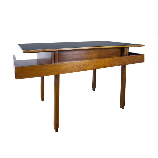 1970s Rationalist Desk by Pietro Bossi, Waxed Walnut, Brass, Formica - Italy For Sale - Image 6 of 13