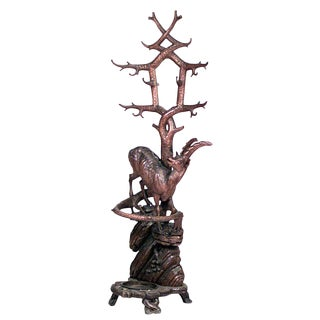 19th Century Rustic Black Forest Carved Walnut Coat Stand For Sale