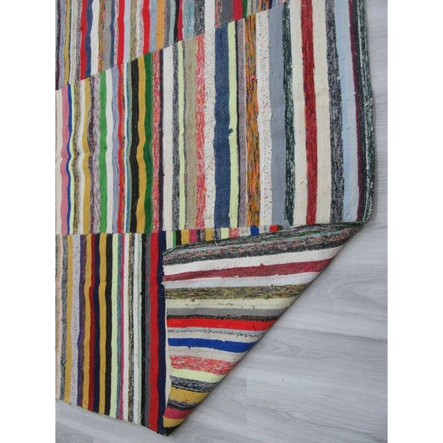 1960s 1960s Vintage Striped Turkish Rag Rug - 7′9″ × 11′ For Sale - Image 5 of 6