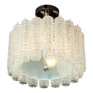 Midcentury Chrome, Hand Blown Translucent and Frosted Murano Glass Chandelier For Sale