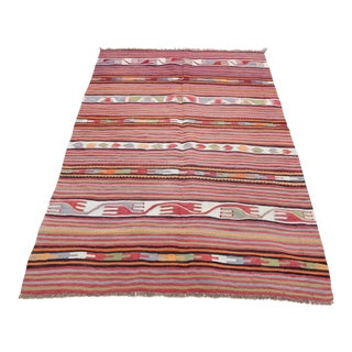 1950s Vintage Turkish Tribal Handwoven Kilim Rug - 2′11″ × 4′10″ For Sale