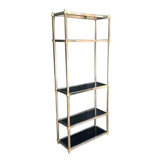 1970s Hollywood Regency Silver & Gold Smoky Glass Etagere For Sale