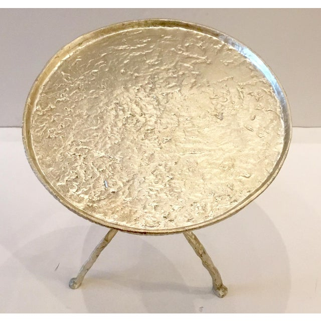 Modern Arteriors Distressed Silver Metal Forest Park Side Table For Sale - Image 3 of 5