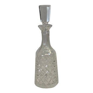 Vintage Cut Crystal Diamond Pattern Decanter For Sale