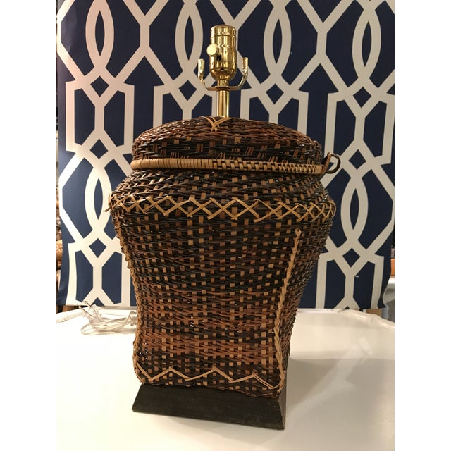 Gold Vintage Rattan Table Lamp For Sale - Image 8 of 8