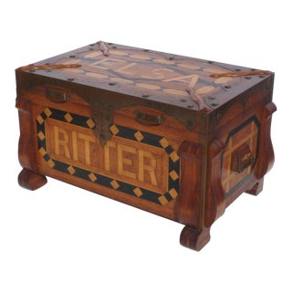 Early 20th Century Phenomenal Parquetry and Brass Chest For Sale