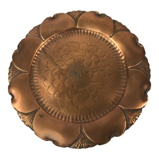 Vintage Hand Hammered Copper Tray For Sale