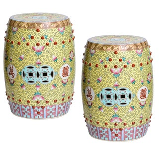 Chinese Famille Rose Garden Stools, A-Pair For Sale