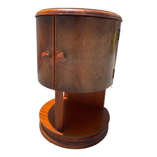 Art Deco Side Table With Wood Inlay For Sale