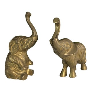 Vintage Brass Elephant Figurines - A Pair