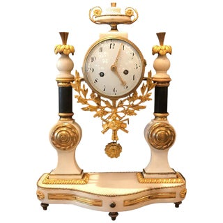 French Directoire Marble and Ormolu Mantle Clock For Sale