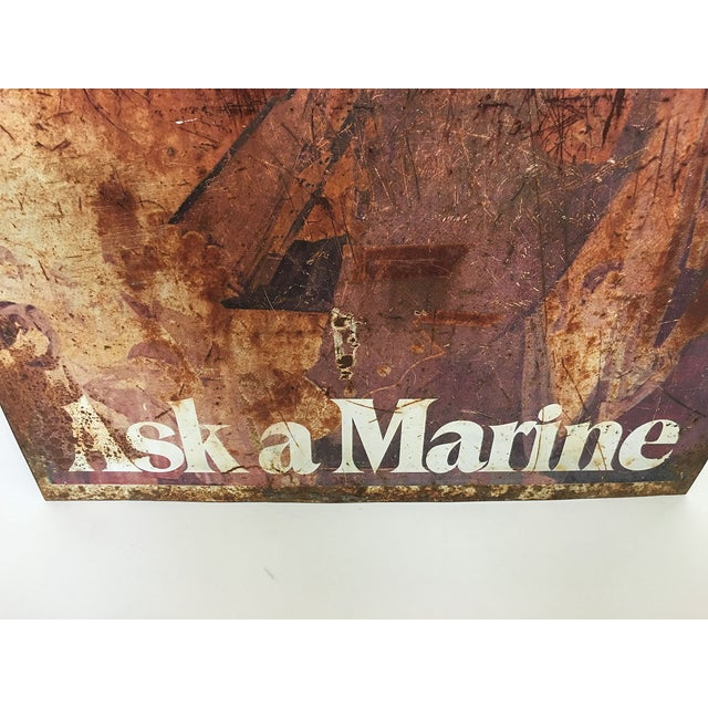 """Ask a Marine"" Large Tin Sign For Sale - Image 7 of 7"