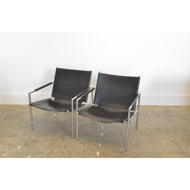 1960s Pair of Martin Visser Lounge Chairs in Black Leather, 1965 For Sale - Image 5 of 5