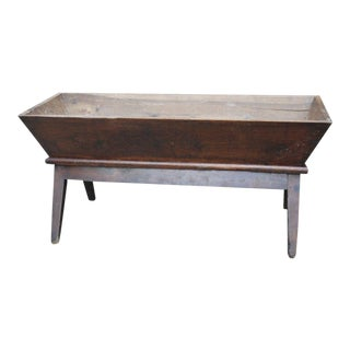 Antique French Pine Late 19th Century Primitive Pine Farmhouse Planter Dough Bowl Bread Trough For Sale
