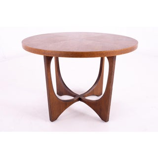 Mid Century Broyhill Brasilia Round Brutalist Walnut Side End Table Preview