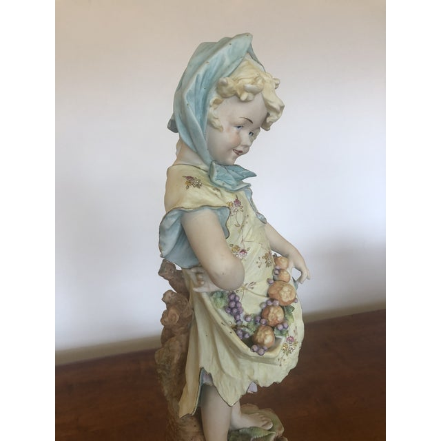 Large Antique Hand Painted Parian Porcelain Figure of a Girl For Sale - Image 4 of 13