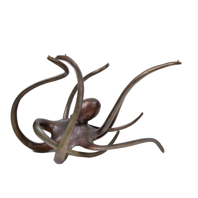 Solid Bronze Octopus Glass Coffee Table For Sale In Miami - Image 6 of 11