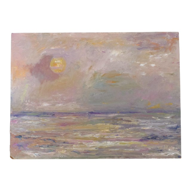 Abstract Seascape at Dusk Oil Painting - Image 1 of 3