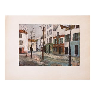 "1950s Maurice Utrillo First Edition Lithograph ""Place Du Tertre"" For Sale"