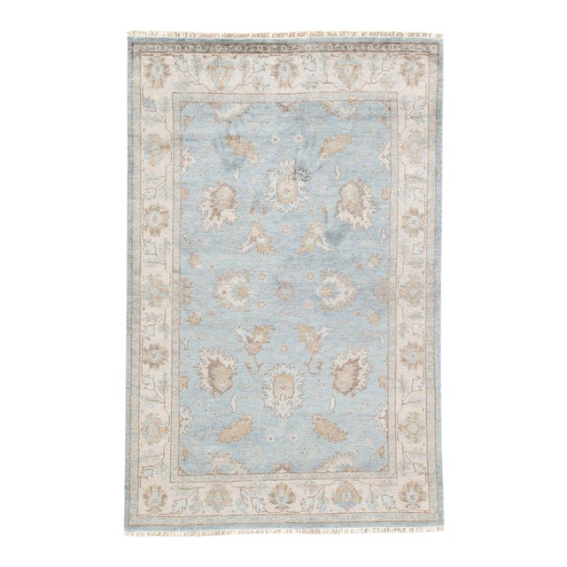 Jaipur Living Geneva Hand-Knotted Floral Light Blue & Ivory Area Rug - 2′ × 3′ For Sale