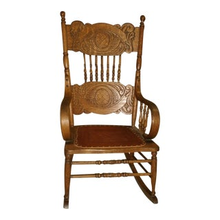 Reduced Antique Larkin Soap Company Ribbon Back Oak Rocking Chair For Sale