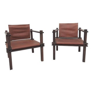 Mid-Century Safari Leather Sling Chairs - A Pair