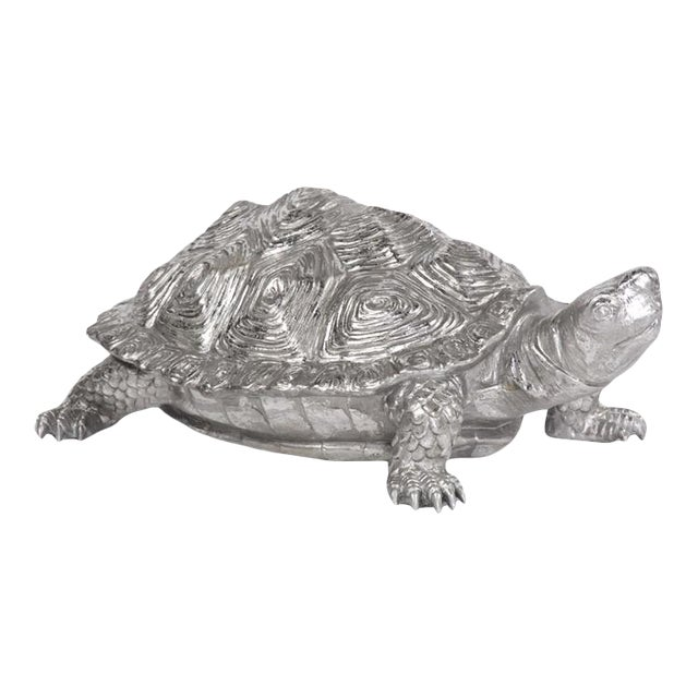 Kenneth Ludwig Chicago Turtle Figurine Textured Pewter For Sale