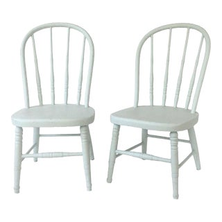 Early 20th Century Antique Painted Childrens Chairs - a Pair For Sale