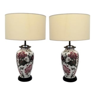 Vintage Famille Rose Porcelain Ceramic Chinese Floral Lamps - a Pair